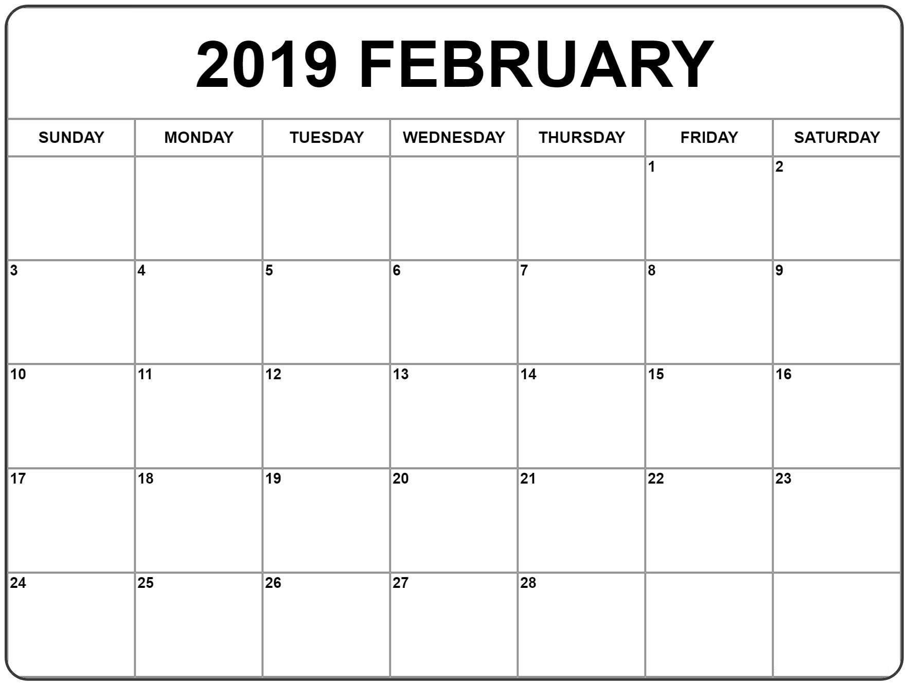 Print A Calendar February 2019 – Printable Calendar Templates Print A Calendar 2019