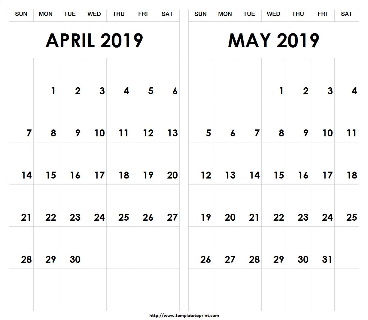 Printable 2019 April May Calendar » Template To Print Calendar 2019 April May