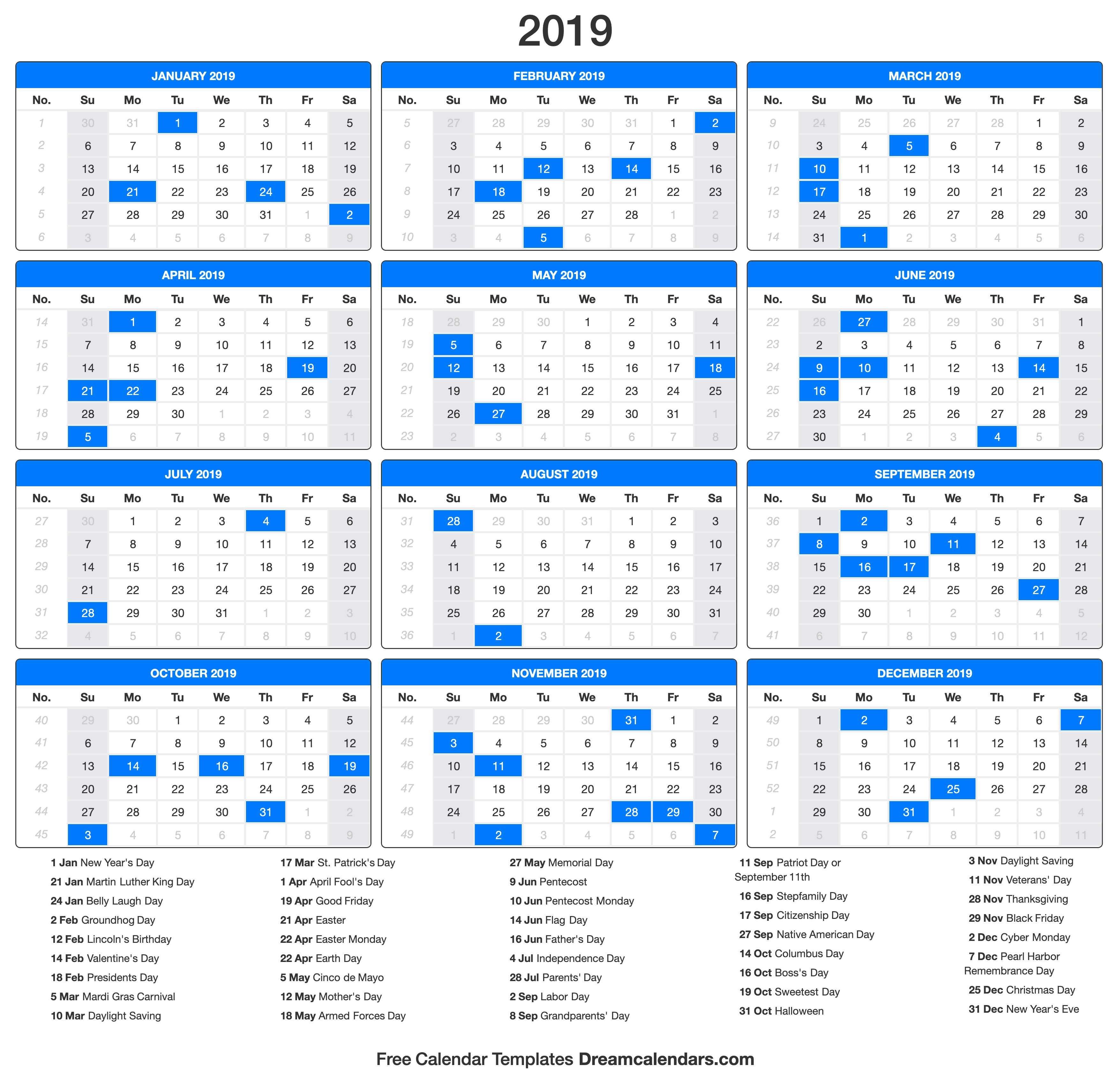 Printable 2019 Calendar – Dream Calendars Calendar 2019 Presidents Day