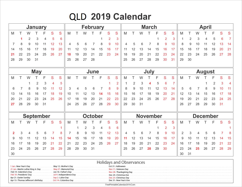 Printable 2019 Calendar Qld | Printable Calendar 2019 2019 Calendar Qld Holidays