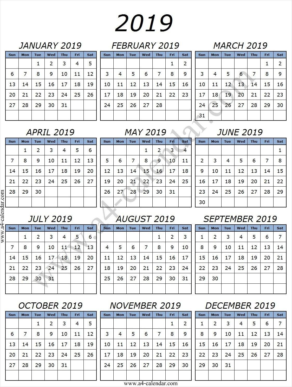 Printable 2019 Calendarmonth With Lines | Printable Calendar Calendar 2019 With Lines