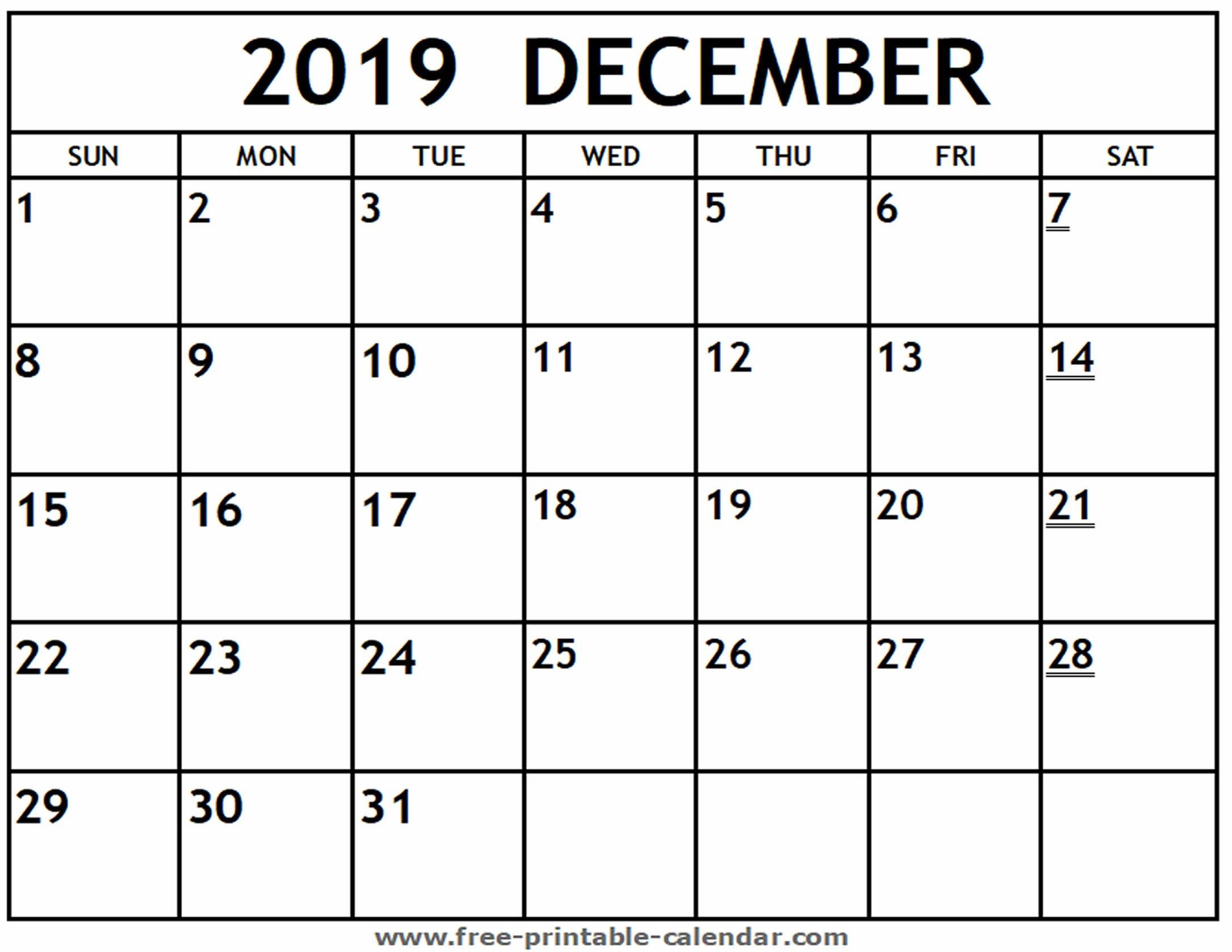 Printable 2019 December Calendar – Free Printable Calendar Calendar 2019 December Printable