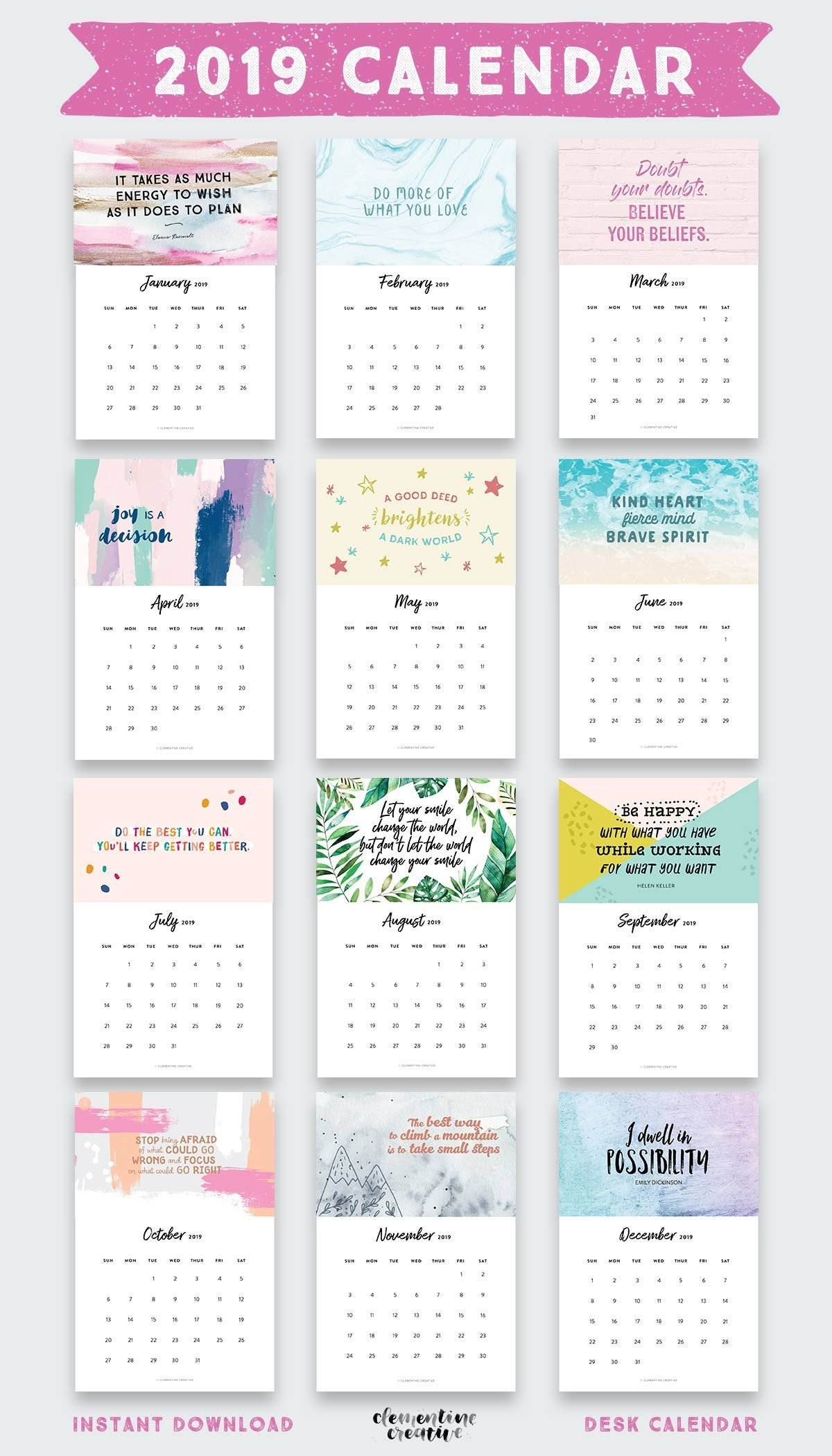 Printable 2019 Inspirational Quotes Calendar | Graphic Design | Desk Calendar 2019 Inspirational