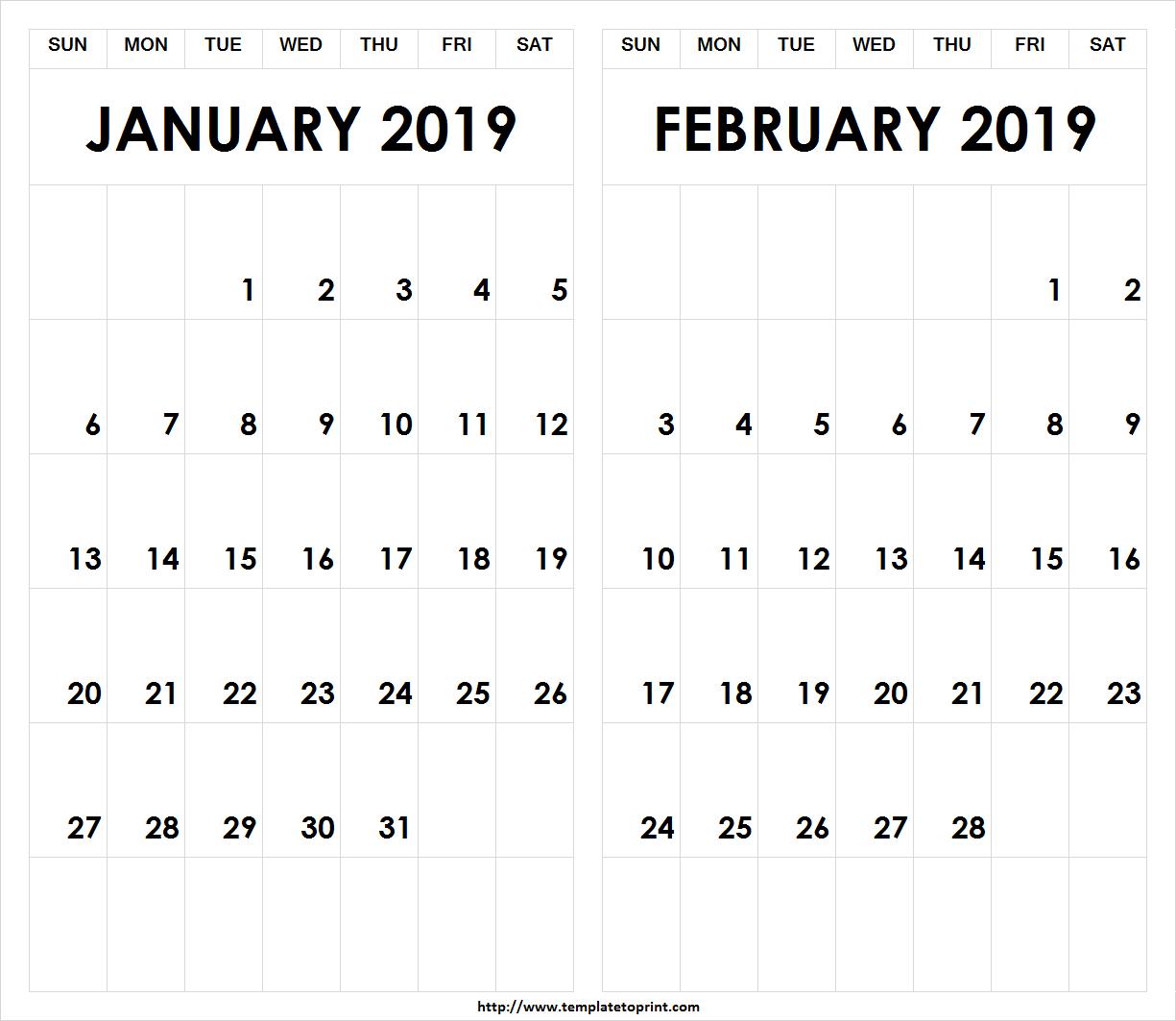 Printable 2019 January February Calendar » Template To Print Calendar 2019 Jan Feb
