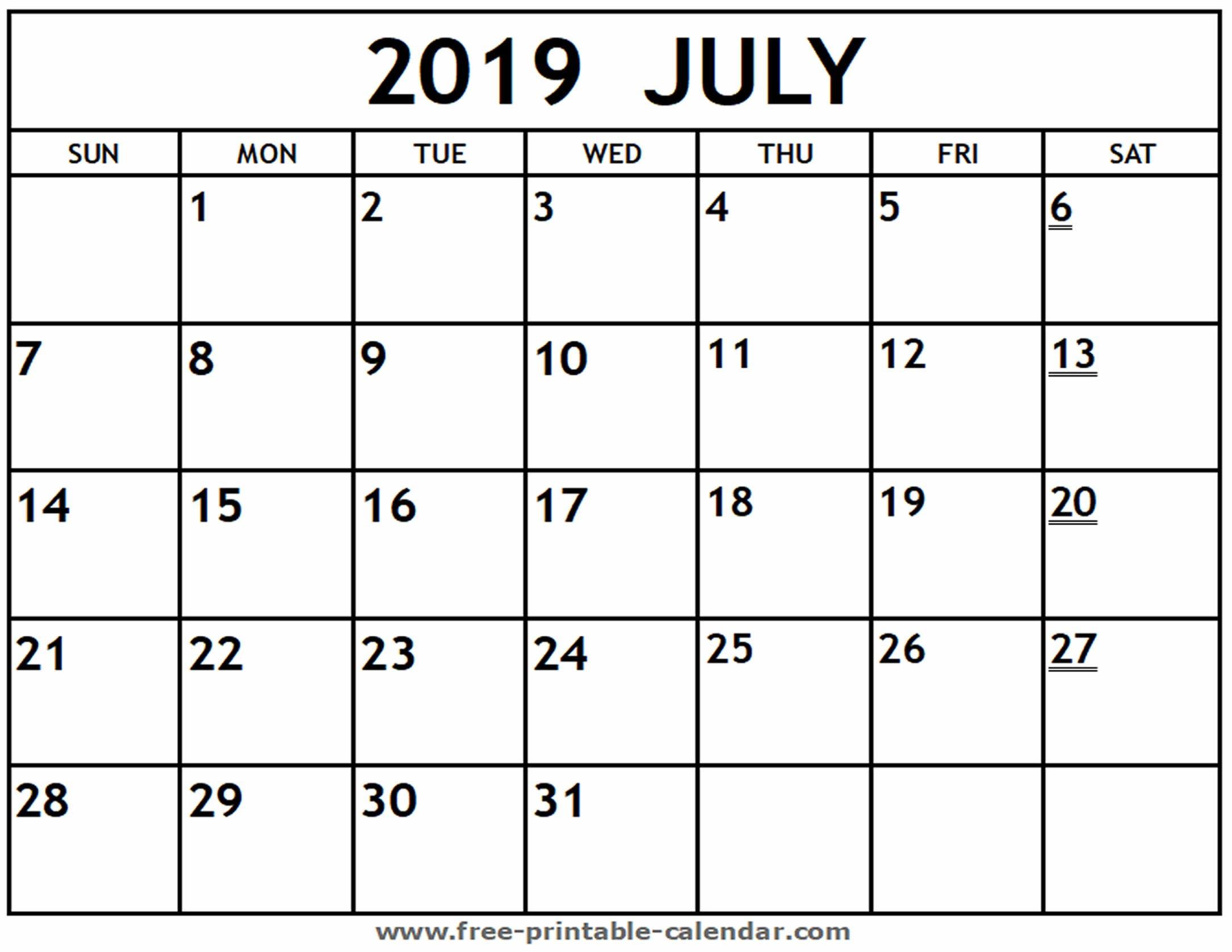 Printable 2019 July Calendar – Free Printable Calendar Calendar 2019 July