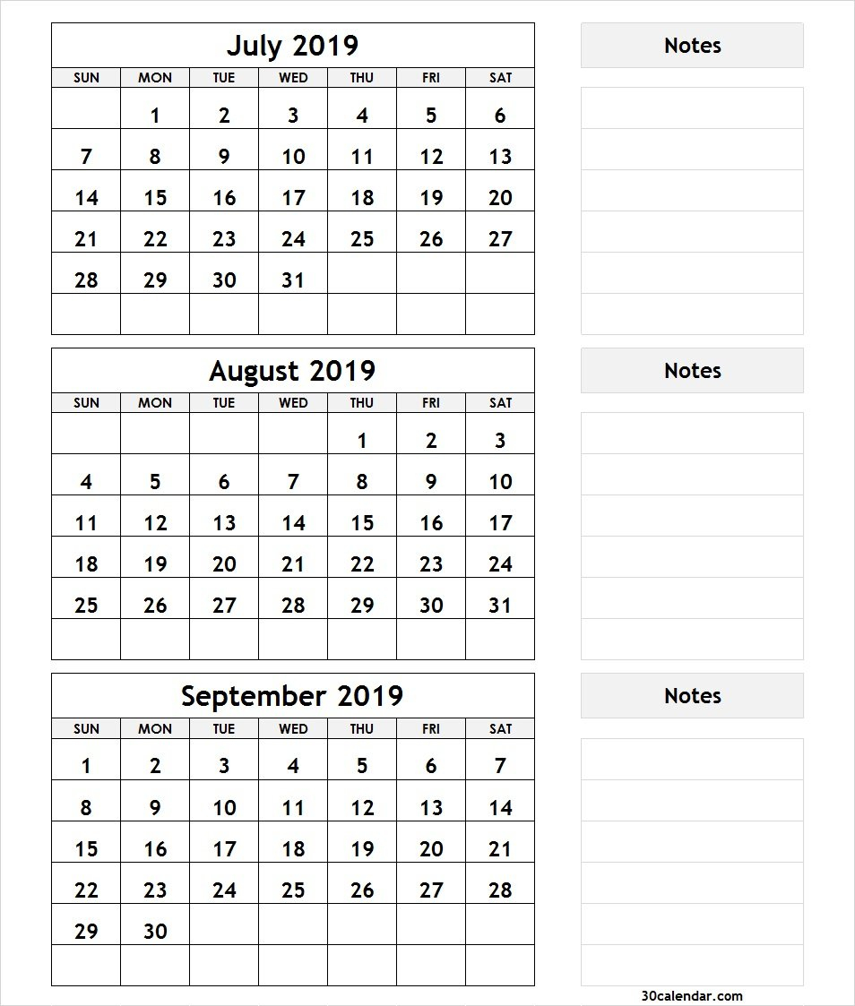 Printable 3 Month Calendar July August September 2018   Printable July 3 2019 Calendar