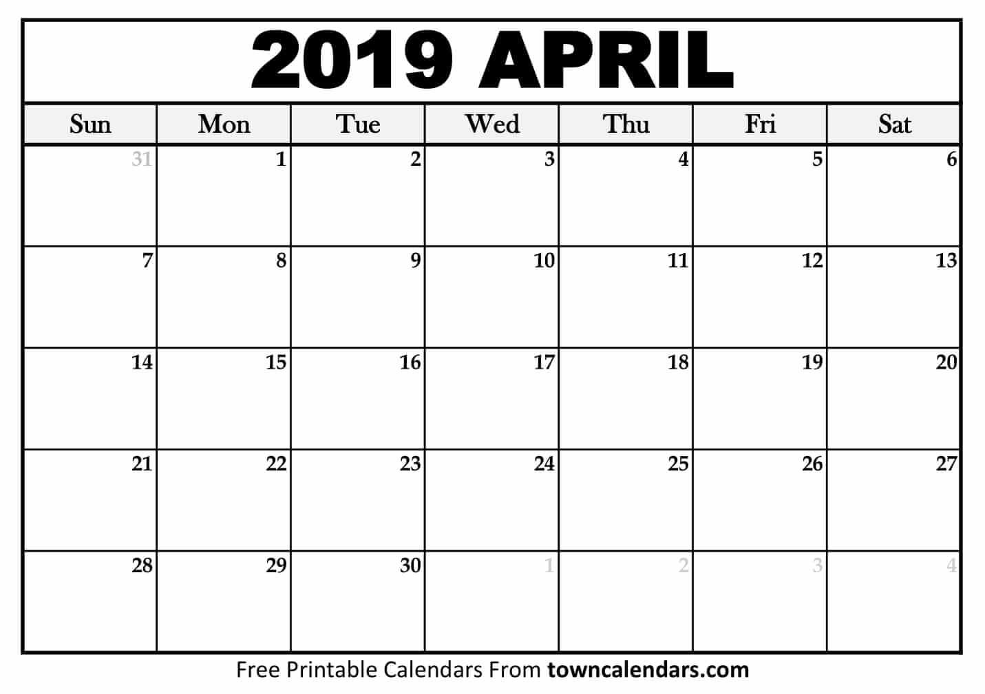 Printable April 2019 Calendar – Towncalendars April 1 2019 Calendar