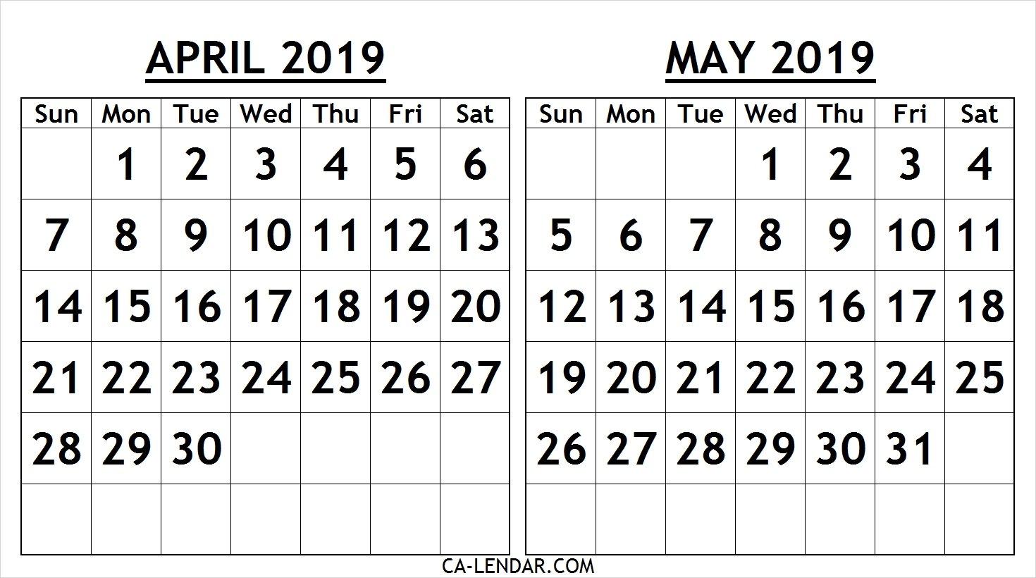 Printable April May 2019 Calendar Template – Free Printable Calendar Calendar 2019 April May