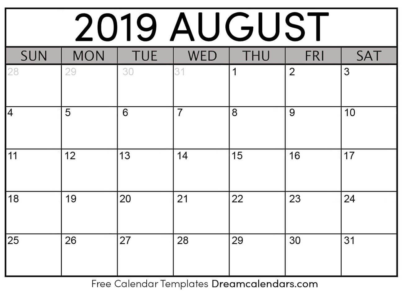 Printable August 2019 Calendar Templates – Helena Orstem – Medium August 1 2019 Calendar