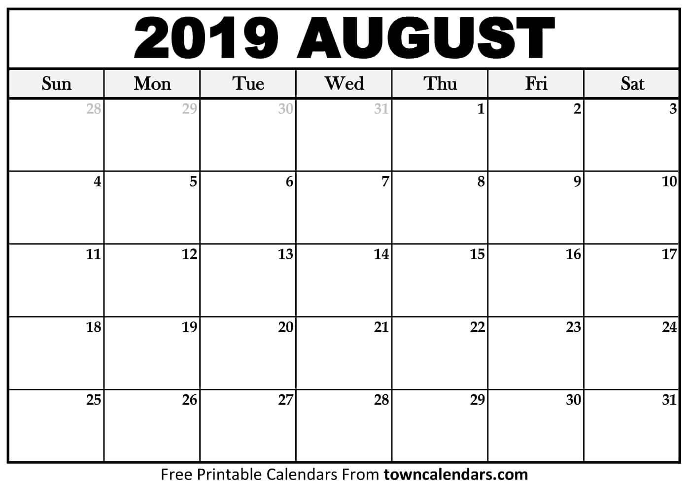 Printable August 2019 Calendar – Towncalendars August 1 2019 Calendar