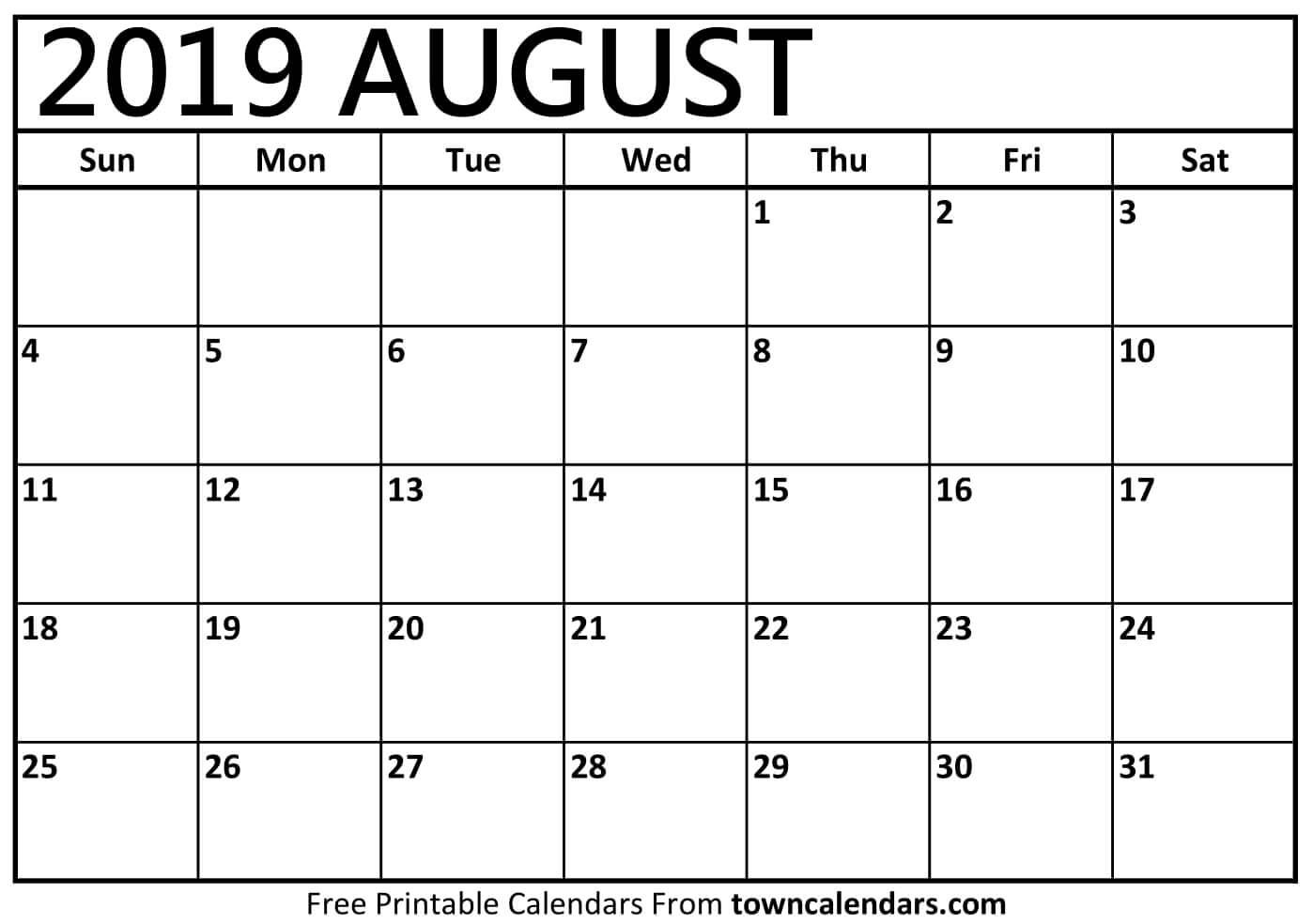 Printable August 2019 Calendar – Towncalendars August 3 2019 Calendar