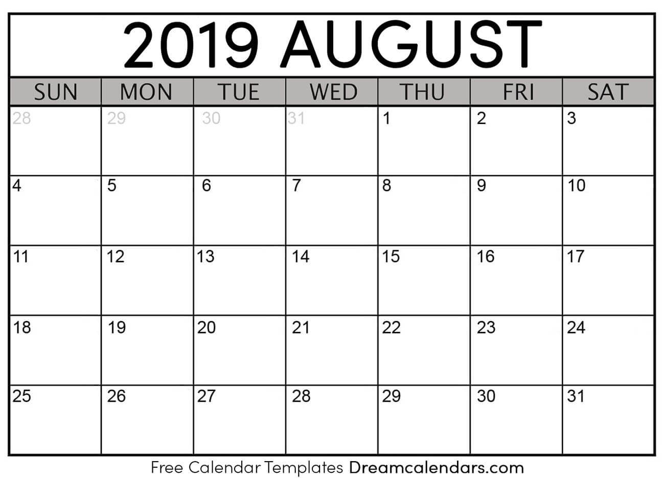 Printable August 2019 Calendar York U Calendar 2019