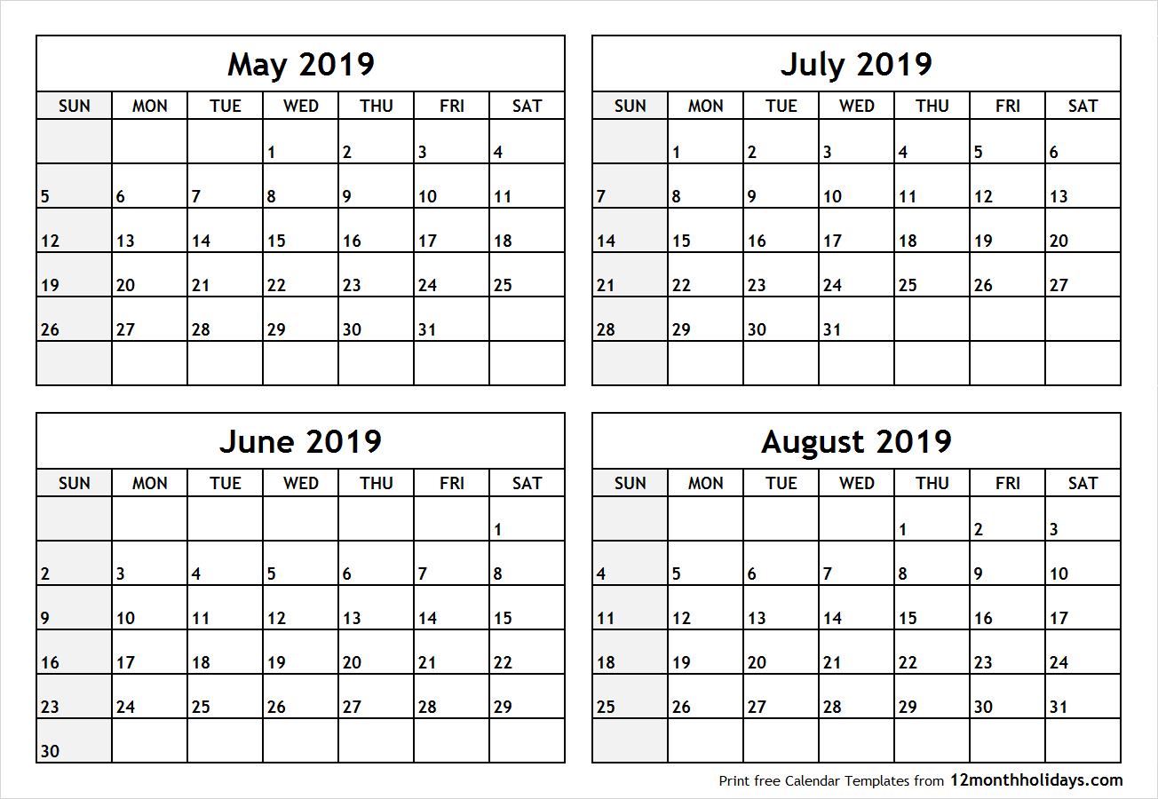 Printable Blank Four Month May June July August 2019 Calendar Template Calendar 2019 May June July