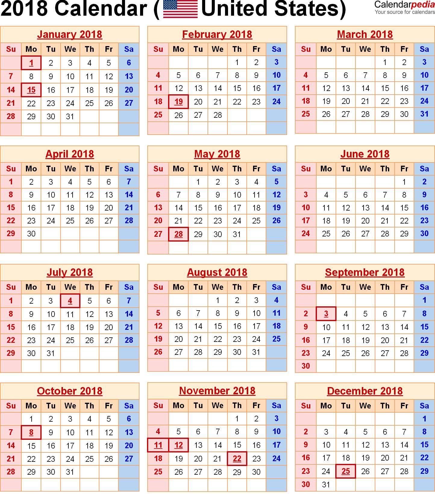 Printable Calendar 2018 Us Holidays | Printable Calendar 2019 U.s. Holiday Calendar 2019