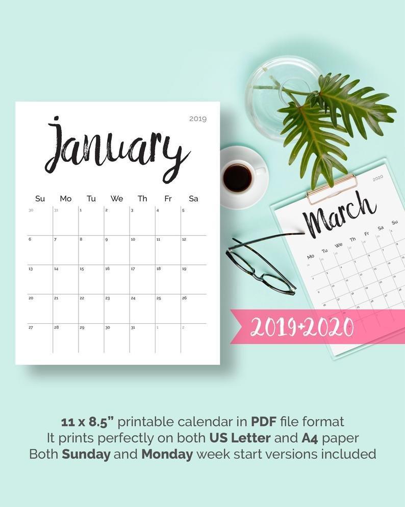Printable Calendar 2019 2020 2018 Desk Calendar Pdf Download   Etsy Barbara B Mann Calendar 2019