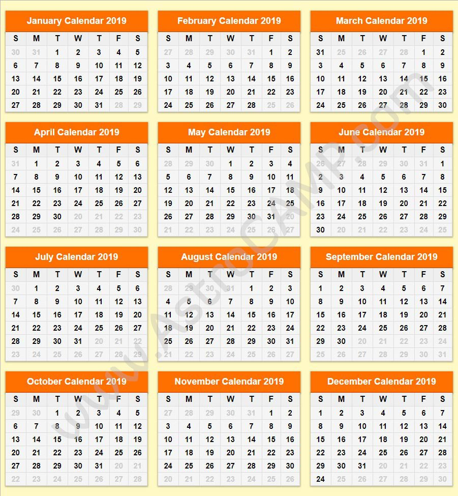 Printable Calendar 2019: Download Free Printable Calendar Calendar 2019 Roman