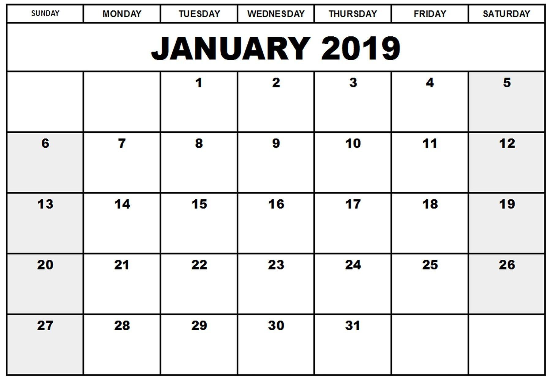 Printable Calendar 2019 January   Printable Calendar 2019 Calendar 2019 January Printable