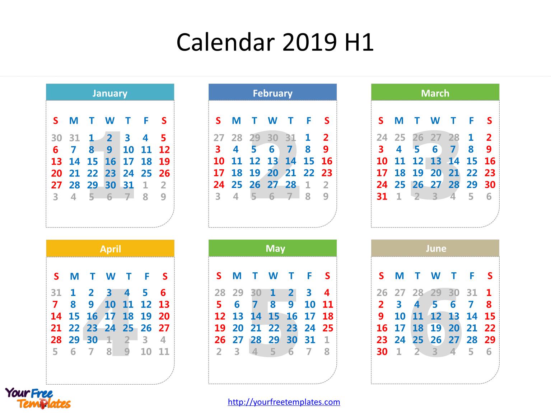 Printable Calendar 2019 Template – Free Powerpoint Templates Calendar 2019 6 Months