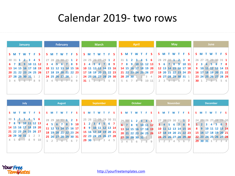 Printable Calendar 2019 Template – Free Powerpoint Templates Calendar 2019 Template Powerpoint