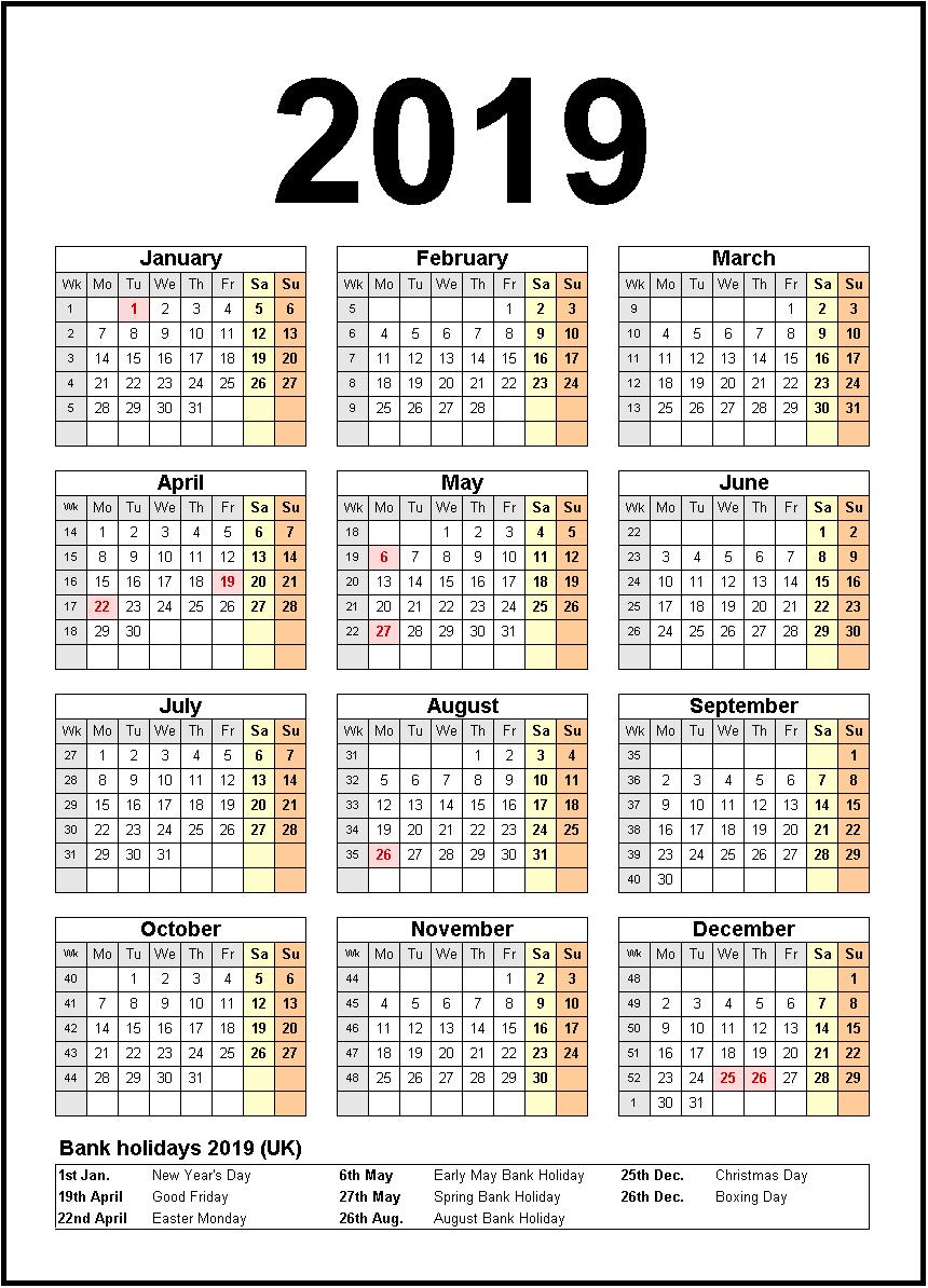 Printable Calendar 2019 United States Holidays | Monthly Calendar Calendar 2019 With Holidays Usa Printable