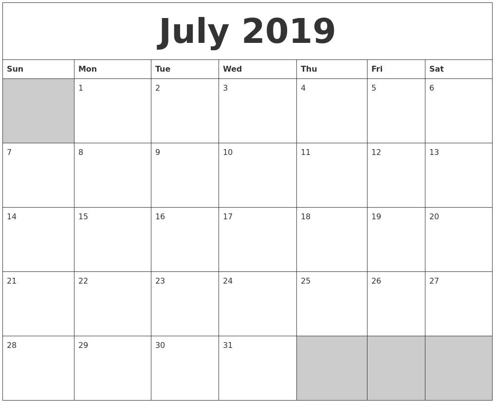 Printable Calendar Generator | Printable Calendar 2019 Calendar 2019 Generator
