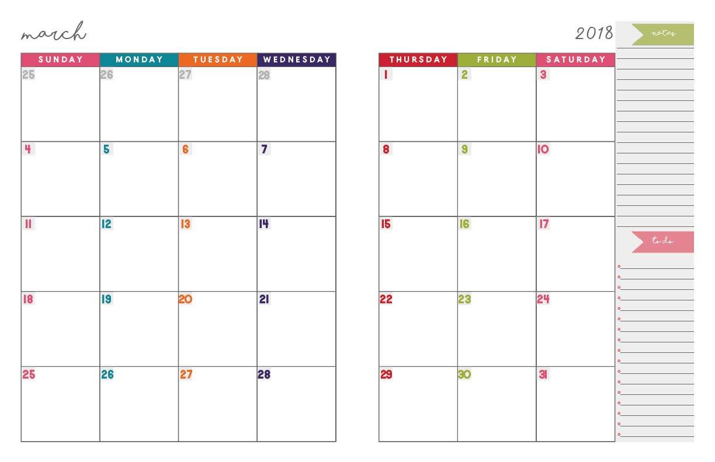 Printable Calendar Notebook 2018   Printable Calendar 2019 2 Page Calendar 2019
