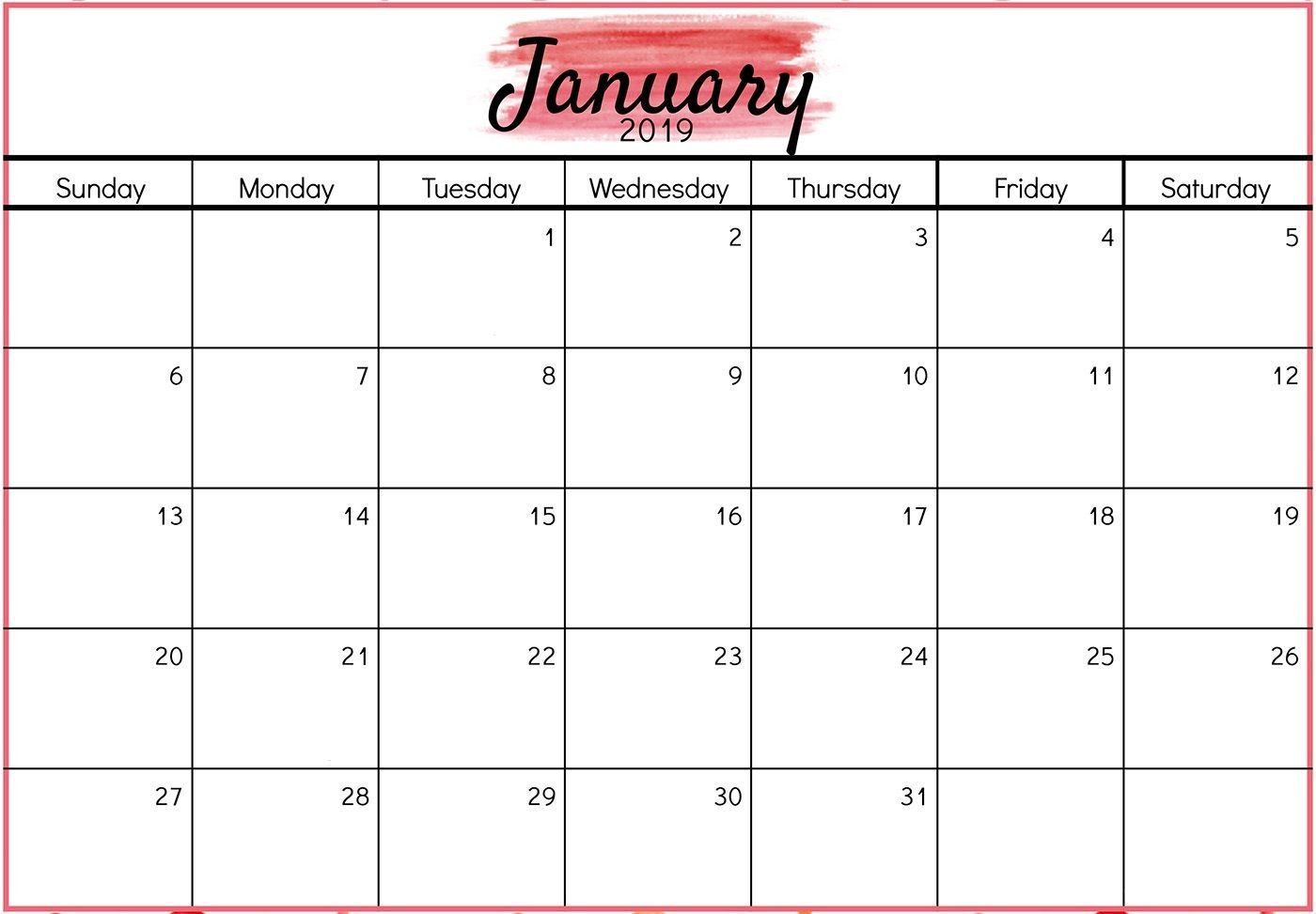 Printable January 2019 Calendar Design | Free Printable February Calendar 2019 January Template