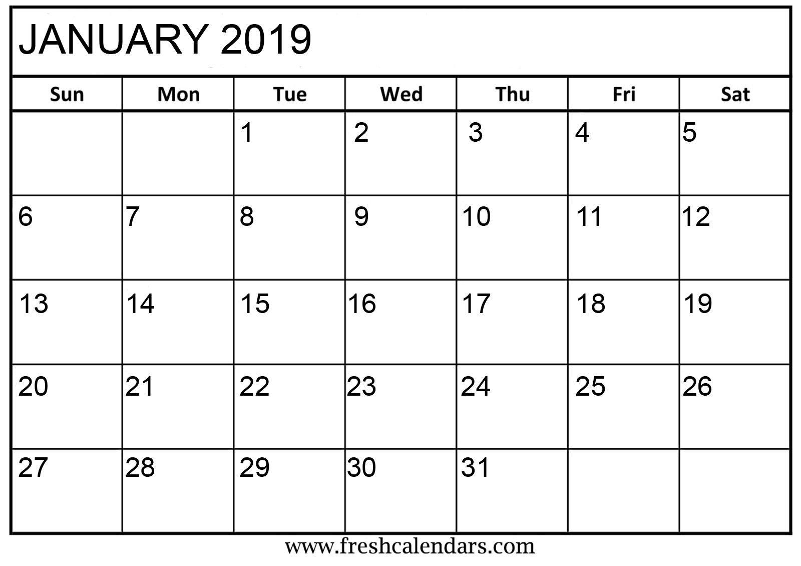 Printable January 2019 Calendar #january2019 #january2019Calendar Calendar 2019 Printable January
