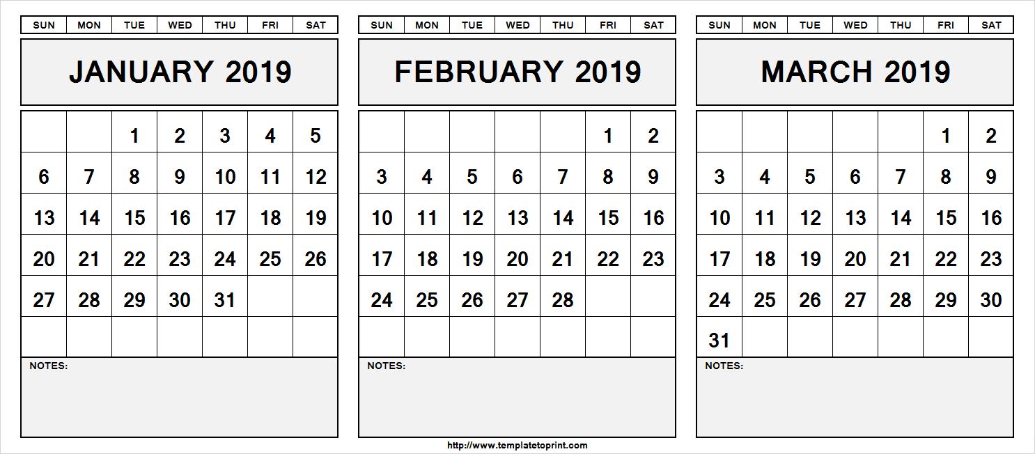 Printable January February March 2019 Calendar With Notes » Template Calendar 2019 Jan Feb Mar