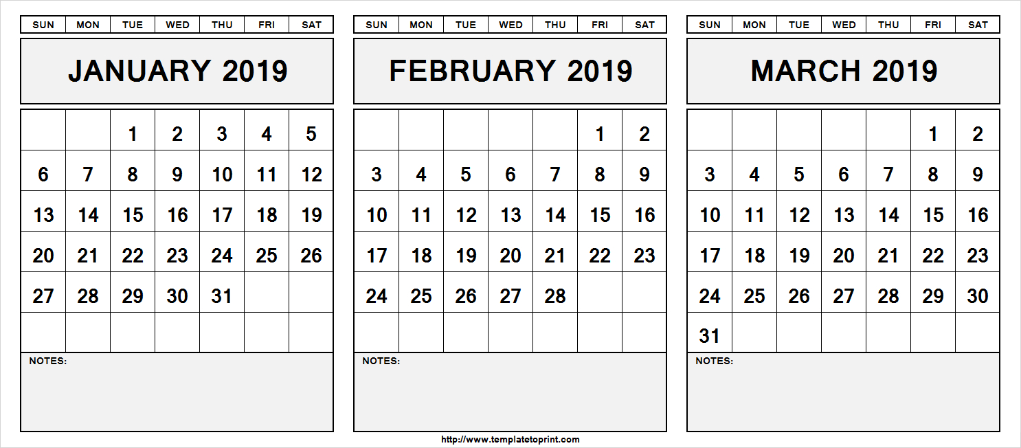 Printable January February March 2019 Calendar With Notes » Template Calendar 2019 January February March