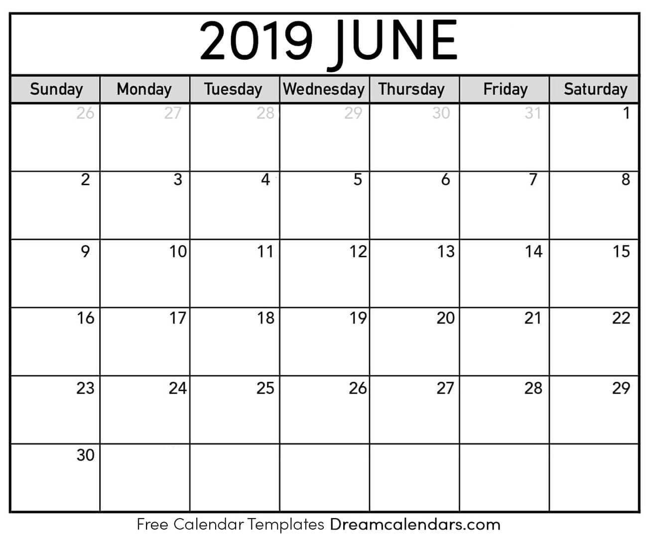 Printable June 2019 Calendar June 8 2019 Calendar