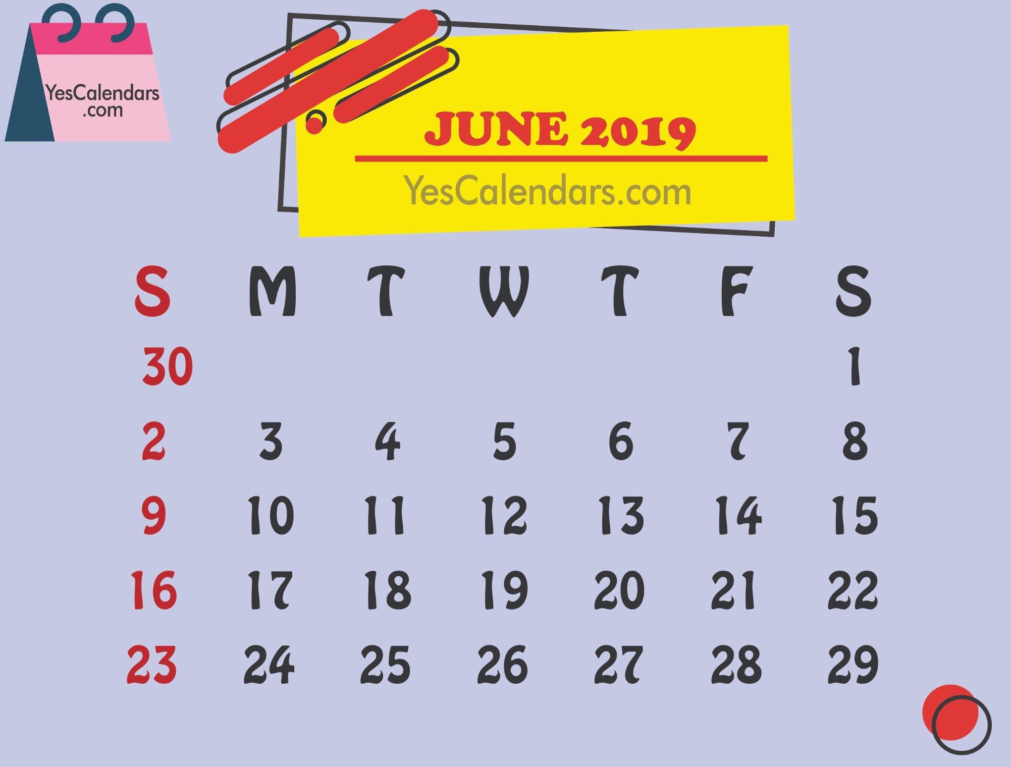 Printable June 2019 Calendar Template Holidays – Yes Calendars June 2 2019 Calendar