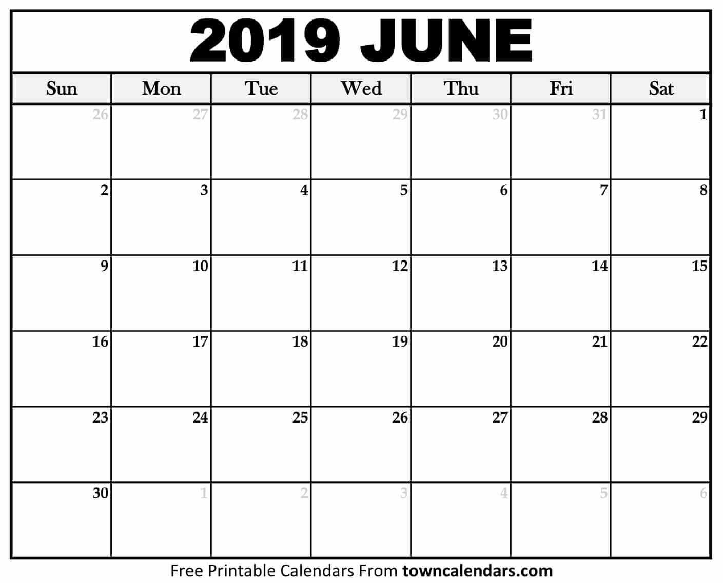 Printable June 2019 Calendar – Towncalendars Calendar Of 2019 June