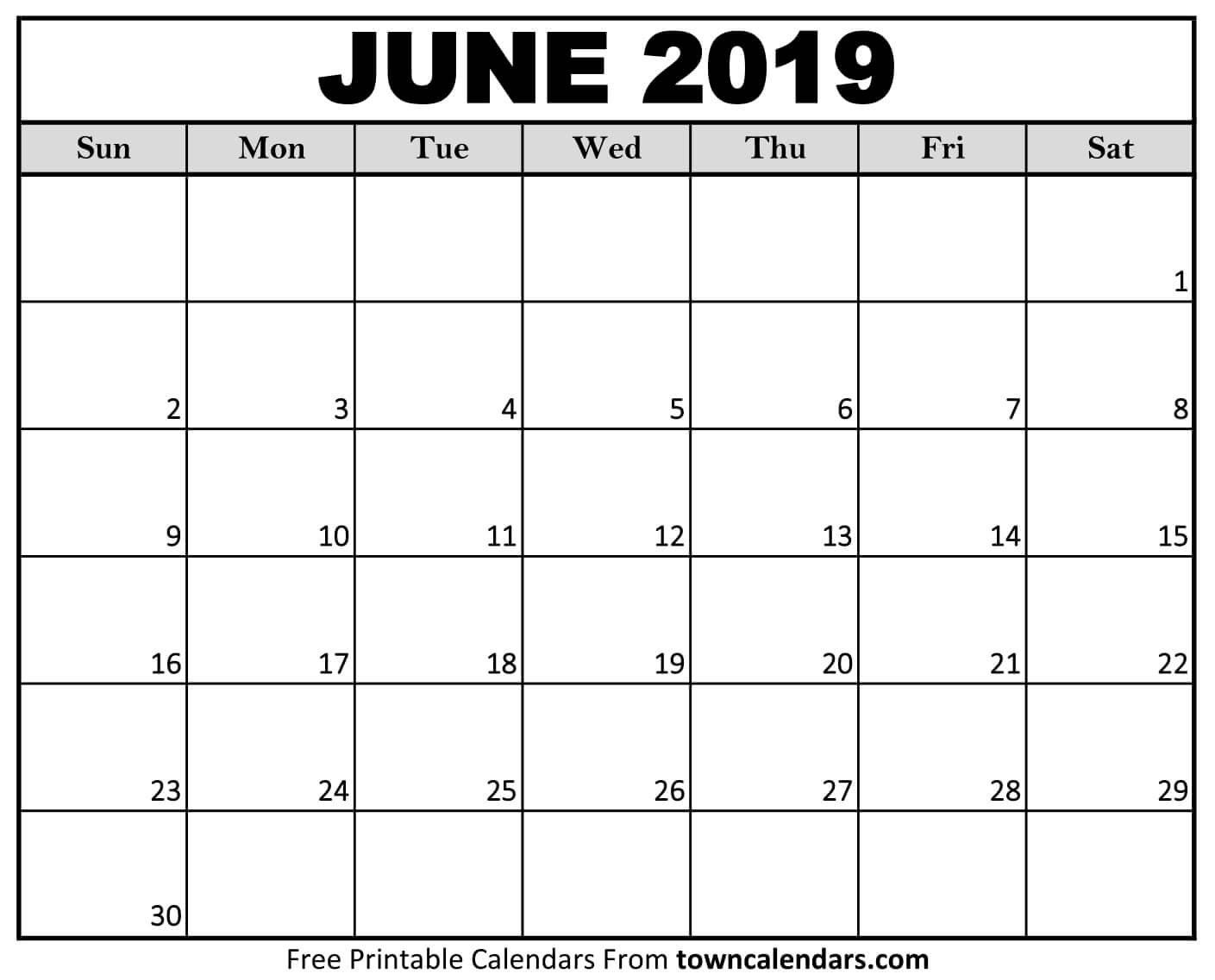 Printable June 2019 Calendar – Towncalendars June 2 2019 Calendar