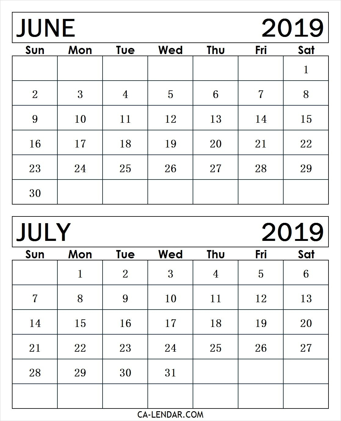 Printable June And July 2019 Calendar Monthly Templates – Calendar Calendar 2019 June July