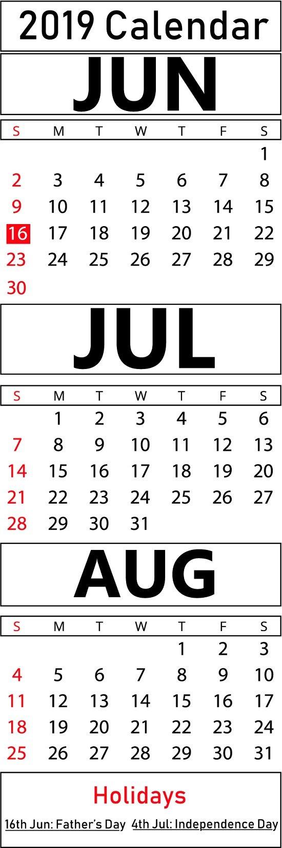 Printable June & July & August 2019 Calendar Templates   Printable June 7 2019 Calendar
