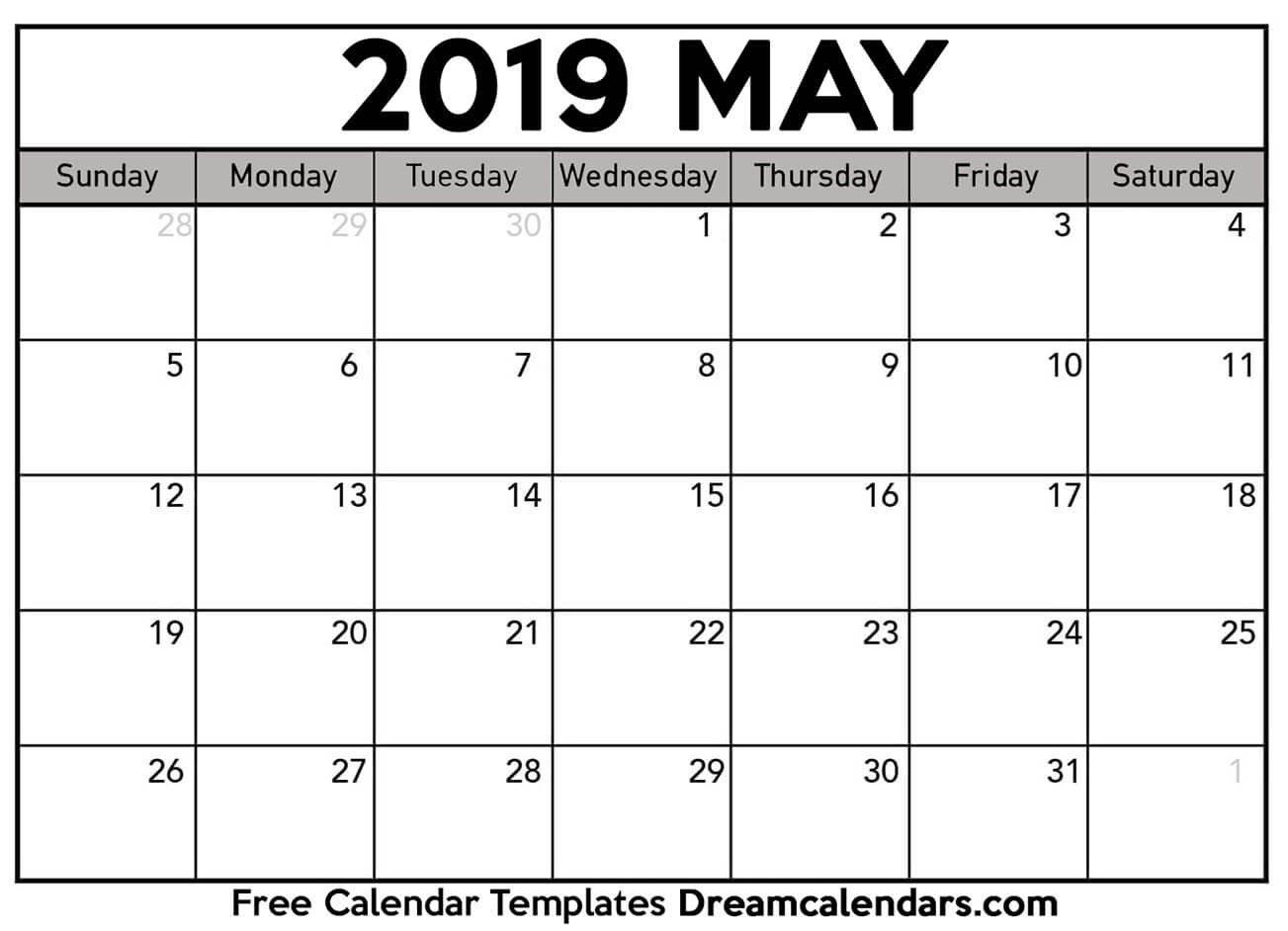 Printable May 2019 Calendar Calendar 0F 2019