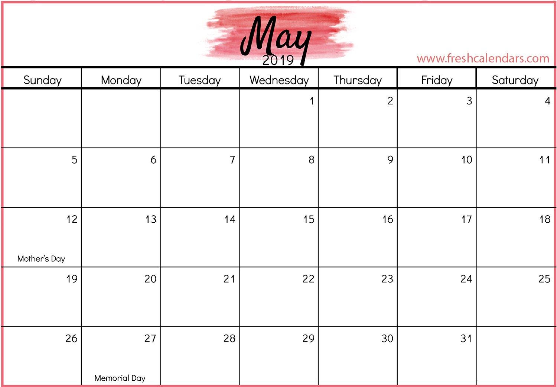 Printable May 2019 Calendar Free (7) | Download 2019 Calendar May 7 2019 Calendar