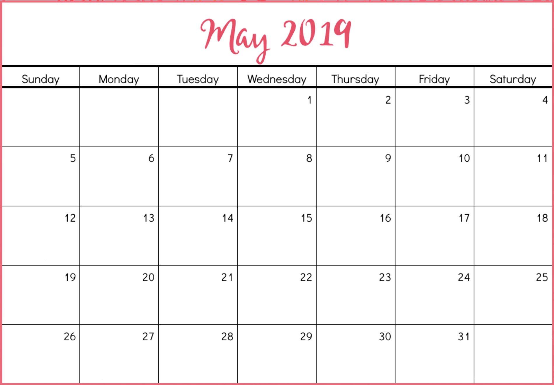 Printable May 2019 Calendar Free (8)   Download 2019 Calendar May 8 2019 Calendar