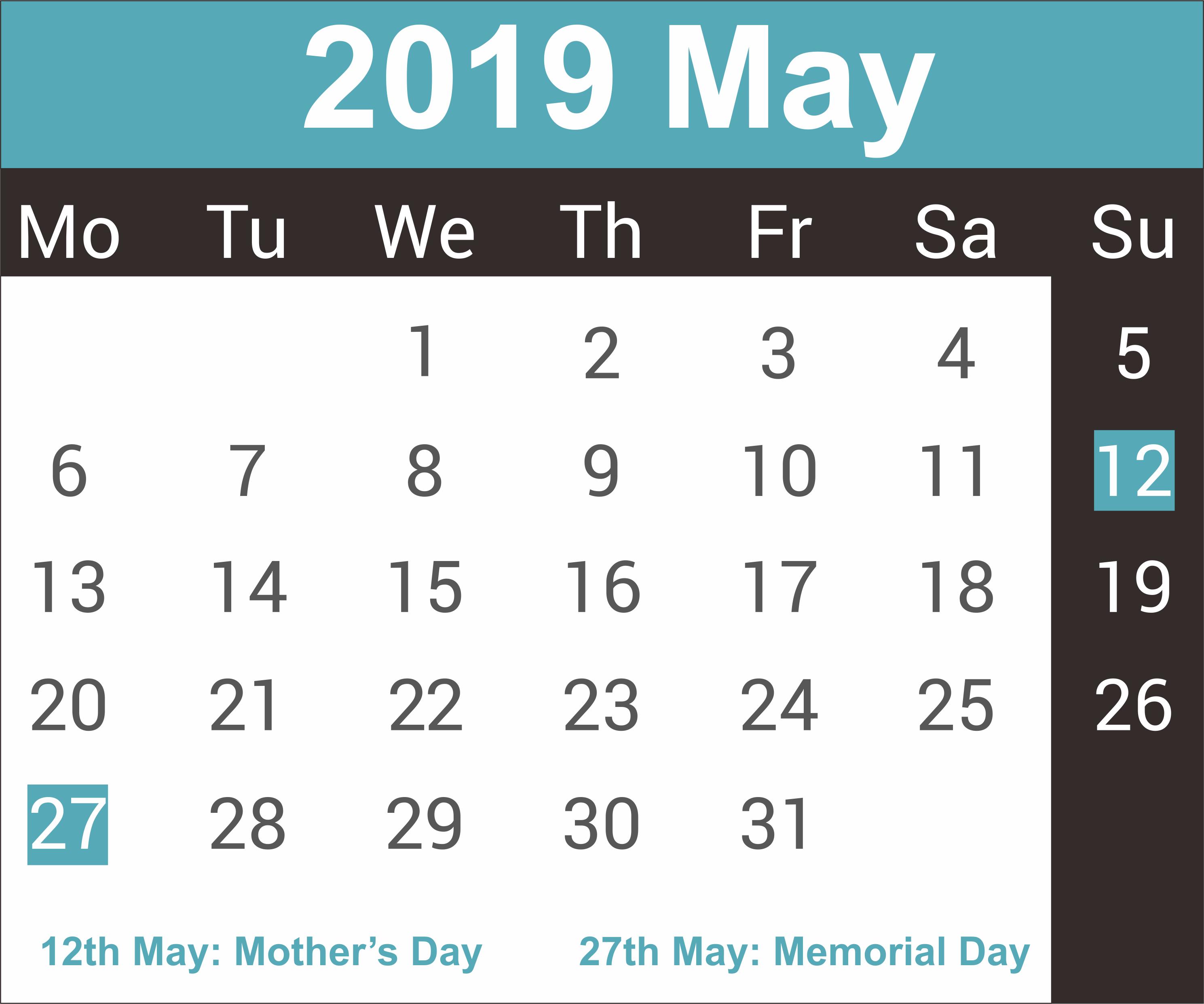 Printable May 2019 Calendar – Free Printable Calendar, Templates And Calendar 2019 Memorial Day