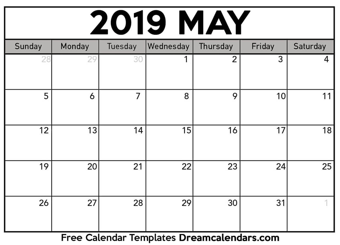 Printable May 2019 Calendar Show A 2019 Calendar