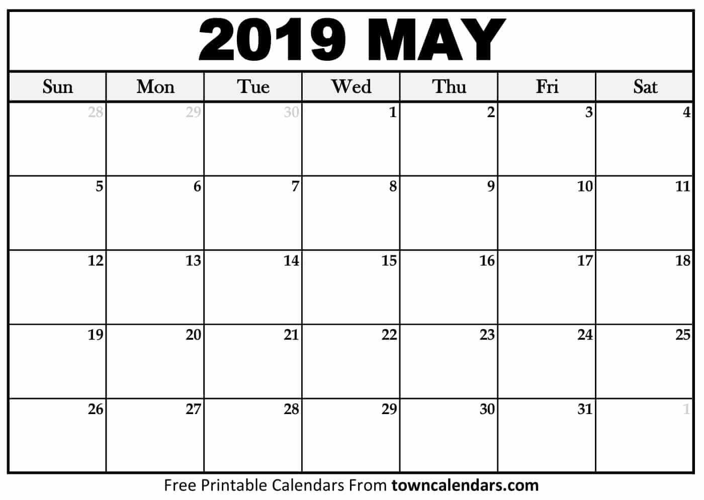 Printable May 2019 Calendar – Towncalendars May 4 2019 Calendar