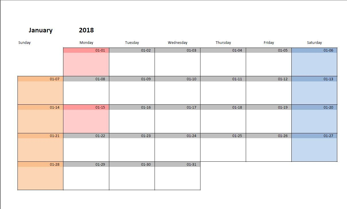 Printable Monthly Calendar Template For Excel   Excel Malin Calendar 2019 Generator