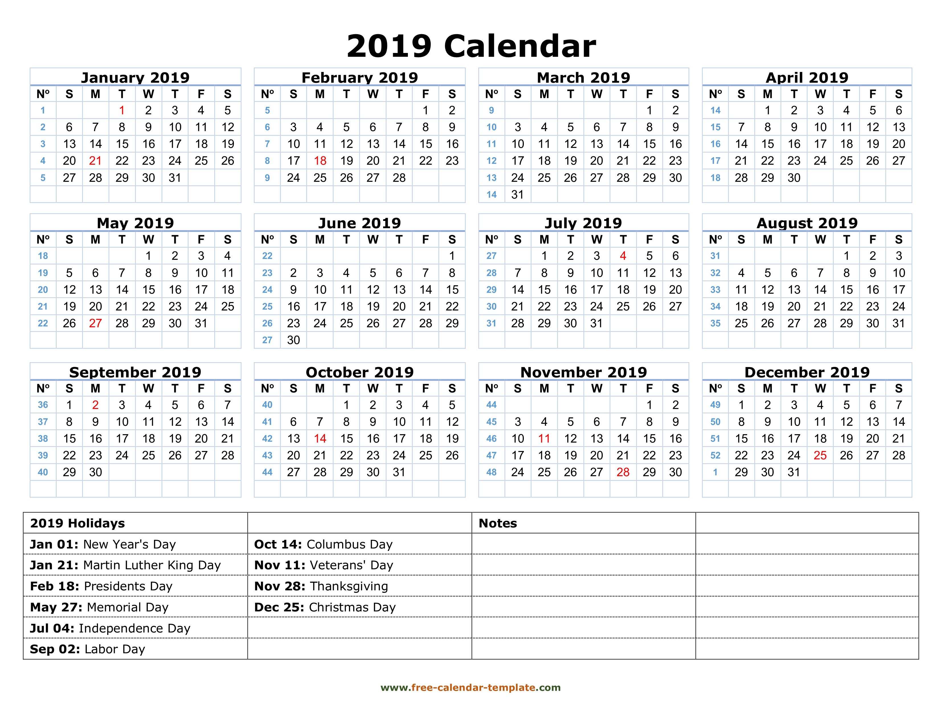 Printable Yearly Calendar 2019 With Us Holidays   Free Calendar Calendar 2019 Pdf Free Download