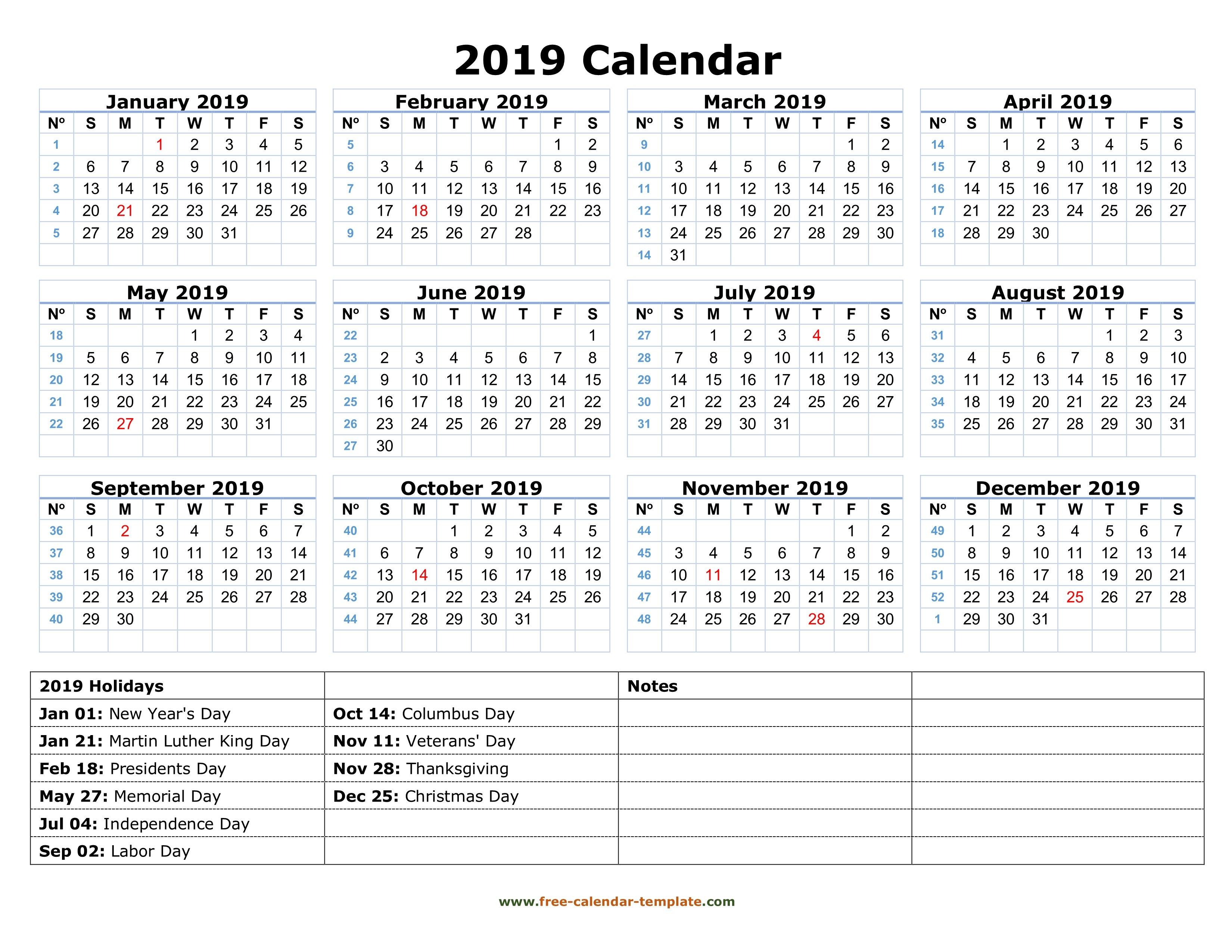 Printable Yearly Calendar 2019 With Us Holidays | Free Calendar Calendar 2019 Presidents Day