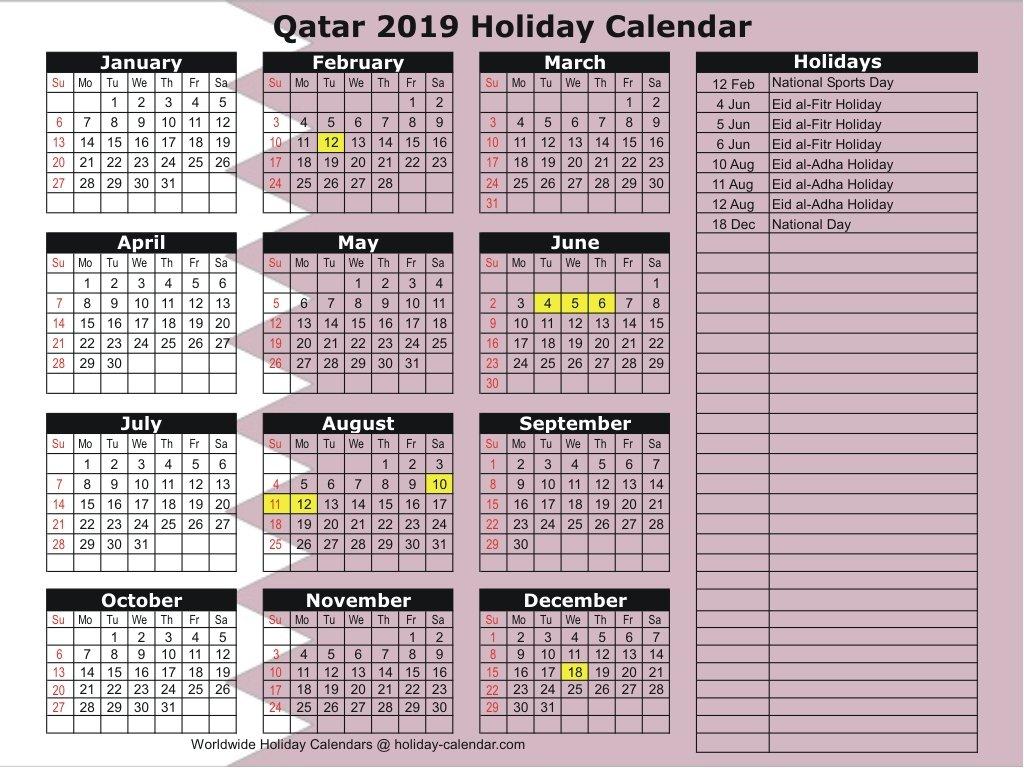 Qatar 2019 / 2020 Holiday Calendar Calendar 2019 Qatar