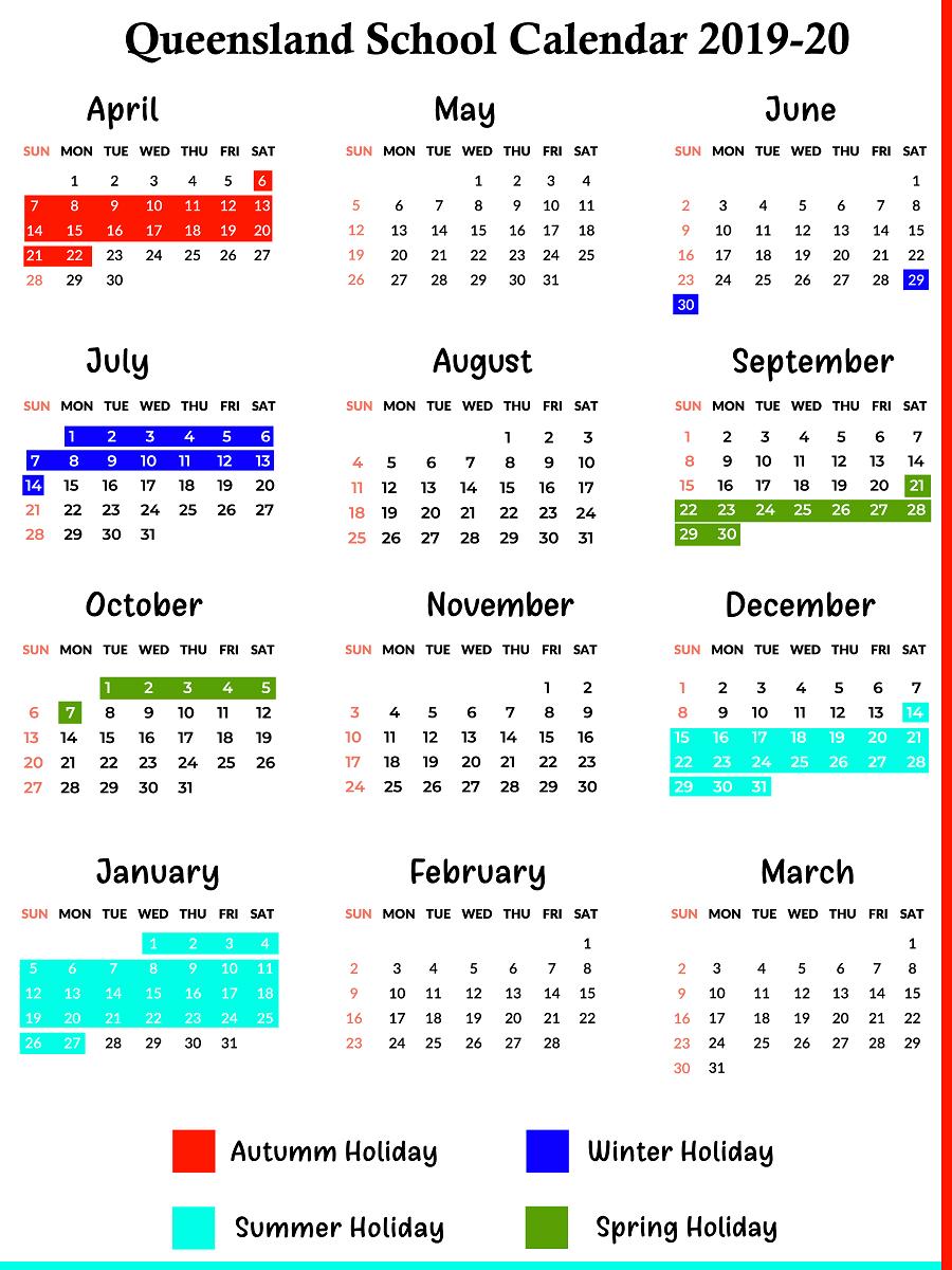 Qld School Holidays Calendar 2019 – 2020   Qld School Holidays 2019 Calendar Queensland State Schools