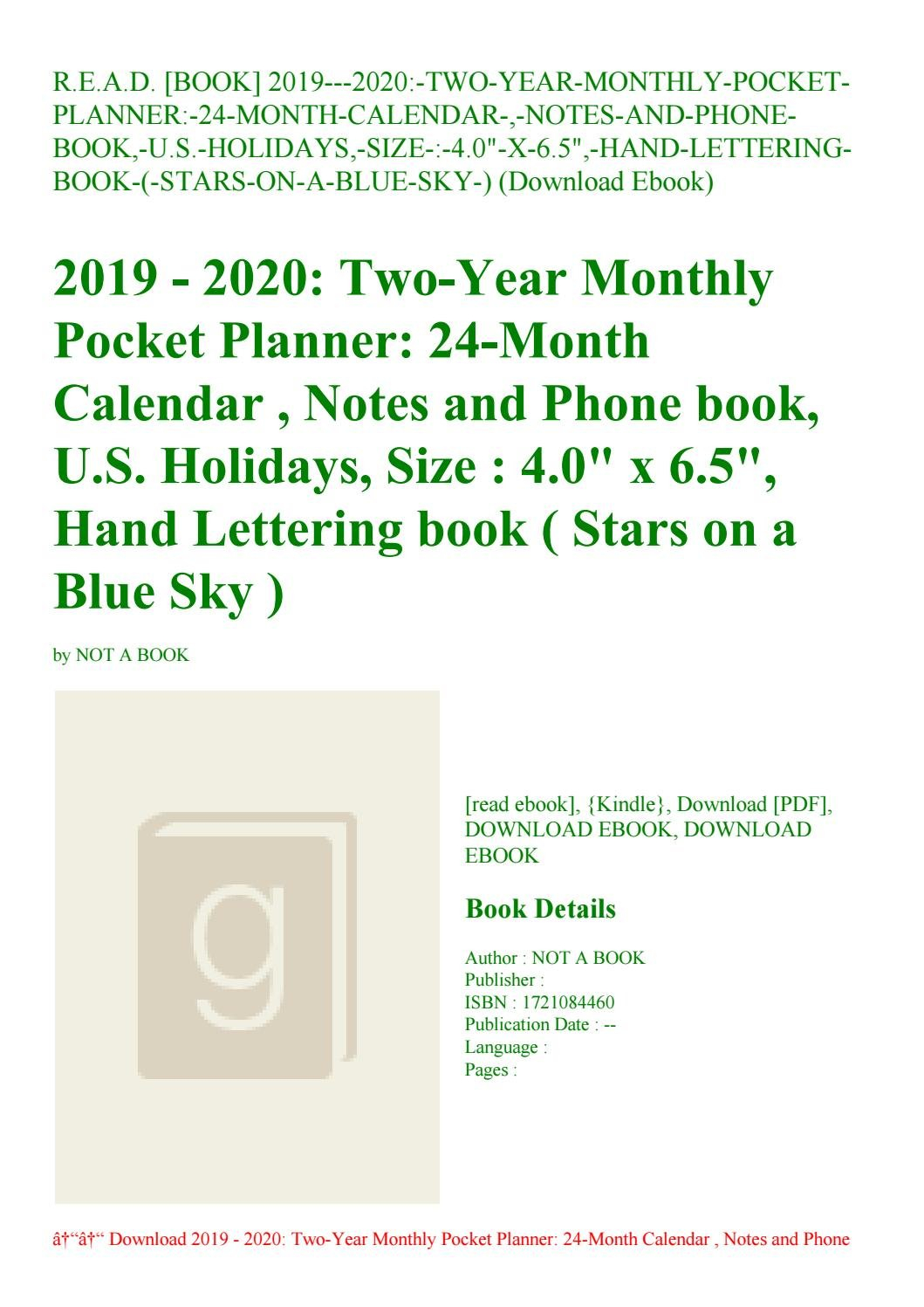 R.e.a.d. [Book] 2019—2020 Two Year Monthly Pocket Planner 24 Month U Of R Calendar 2019