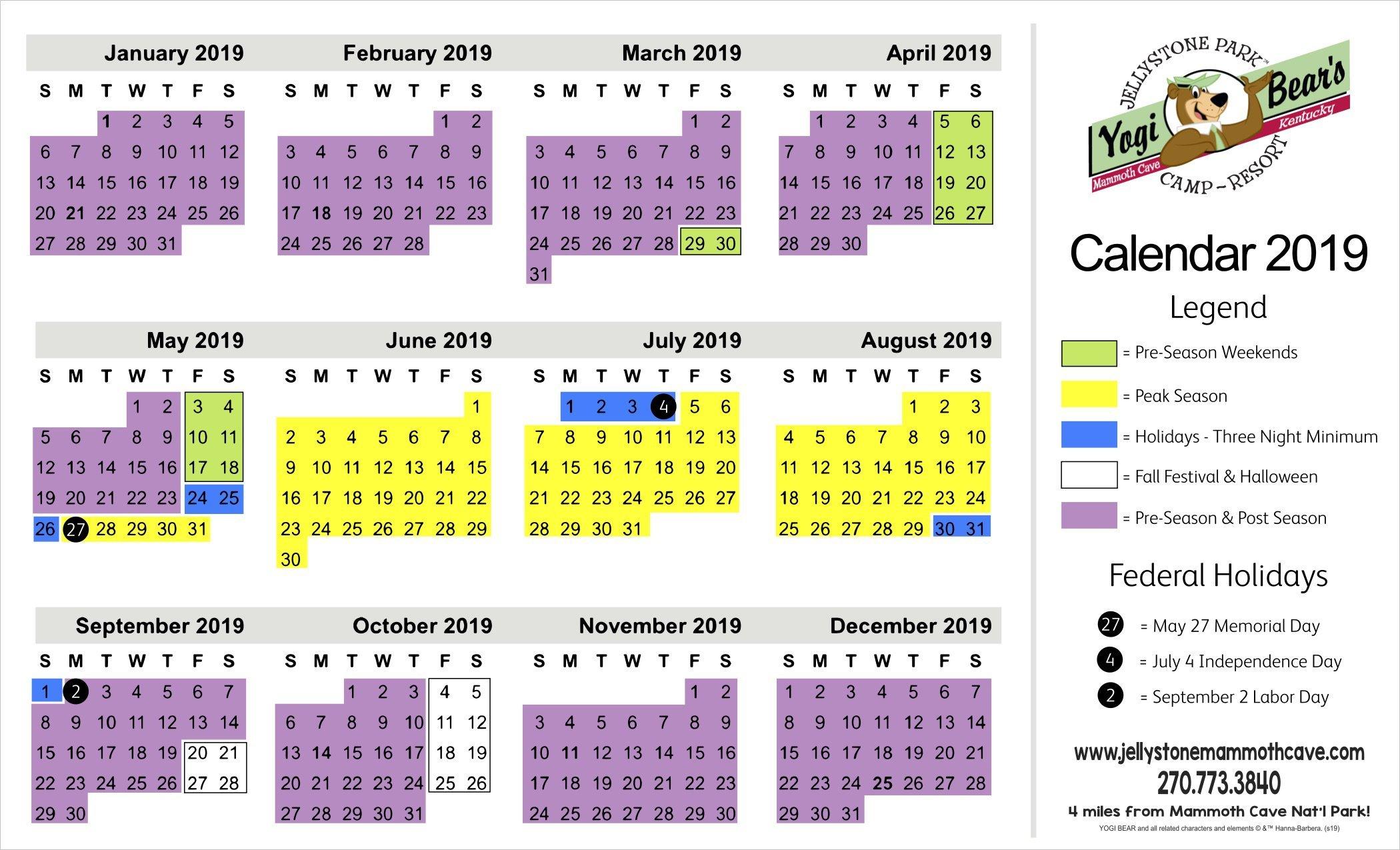 Rates – Jellystone Mammoth Cave Calendar 2019 Rates