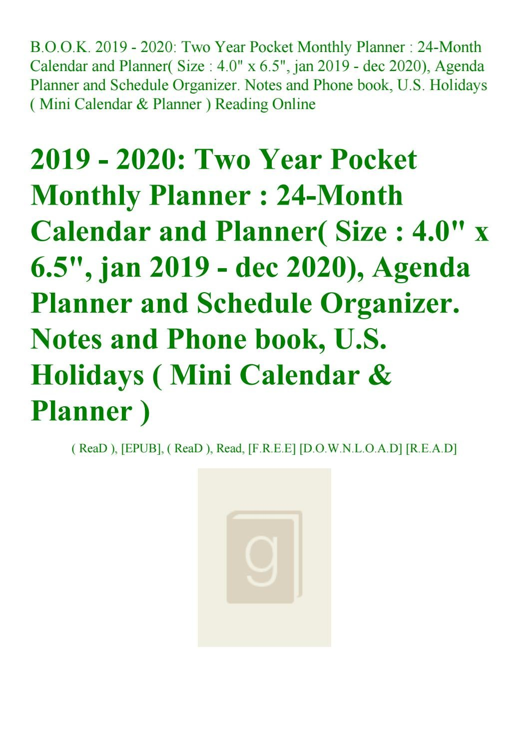 Read B.o.o.k. 2019 – 2020 Two Year Pocket Monthly Planner 24 Month U Of R Calendar 2019